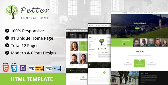Petter | Funeral Service  HTML5 Responsive Template - Business Corporate