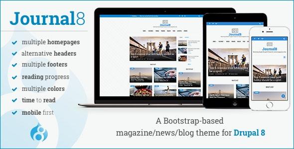 Journal8 - Mobile-First Drupal 8 Theme - News / Editorial Blog / Magazine