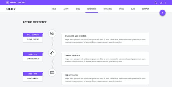 Sility - vCard, CV & Resume WordPress Theme