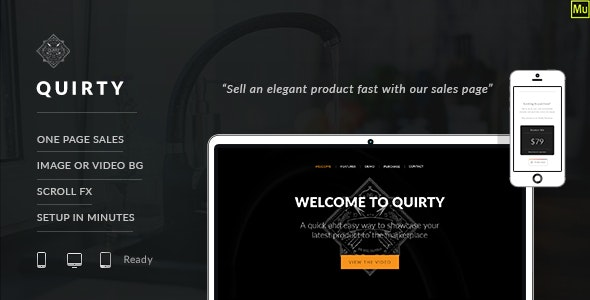Quirty - SIngle Product Muse eCommerce Template - eCommerce Muse Templates