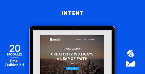 Intent Email Template + Online Emailbuilder 2.1 - Newsletters Email Templates