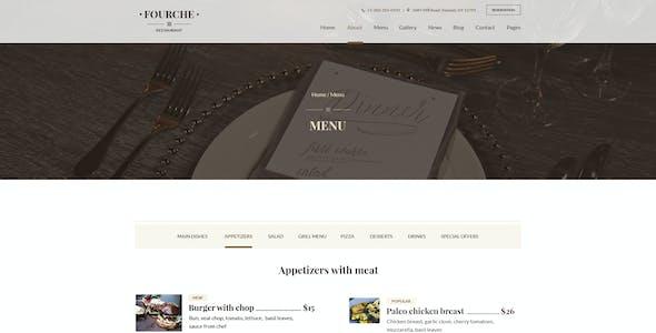 Fourche — Ultramodern Restaurant   Cafe PSD Template