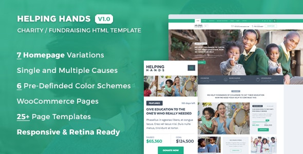 Helping Hands - Charity / NonProfit / Fund Raising HTML Template - Charity Nonprofit