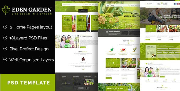 Eden Garden  - Gardening and Landscaping  PSD Template - Business Corporate