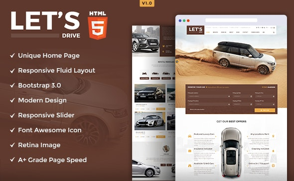 Let's Drive - Amazing Car Rental & Sale HTML5 Template - Business Corporate