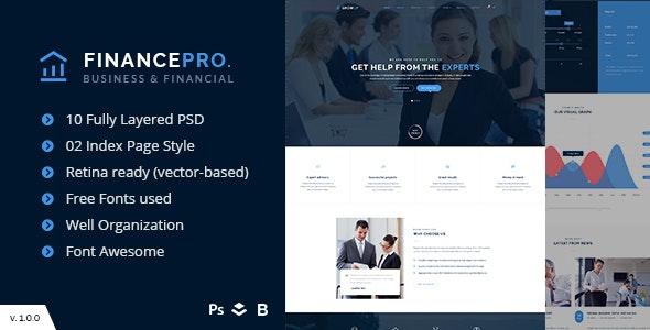 Business PSD Template - FinancePro - Corporate Photoshop