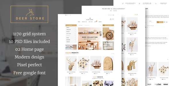DeerStore - Ecommerce PSD Template - Retail Photoshop