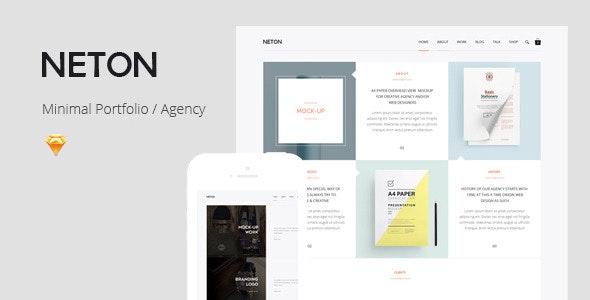 Neton – Creative Portfolio Sketch Template - Portfolio Creative