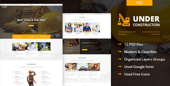 Under Construction -  Building And Business  PSD Template - Business Corporate