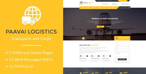 Paavai Logistics – Transport and Cargo PSD Template - Business Corporate