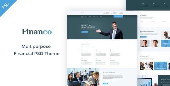Financo - Finance & Investment PSD Template - Business Corporate