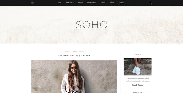 SOHO - Personal Blog PSD Template for Travelers and Dreamers