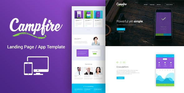 Campfire - Responsive Landing Page Template - Technology Landing Pages