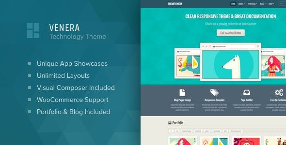 Venera - SAAS landing page and application showcase WordPress theme