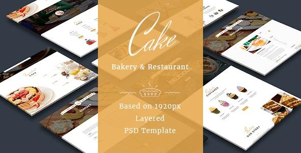 Cake - Easy & Slight Bakery PSD Template - Food Retail