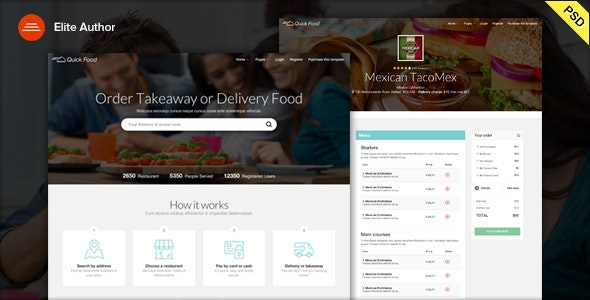 QuickFood PSD - Delivery or Takeaway Food - Food Retail