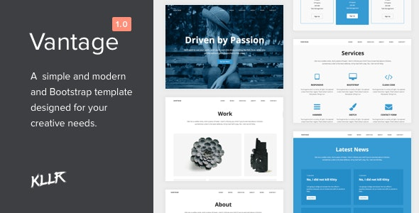 Vantage - A Simple Single-page Bootstrap Template - Site Templates