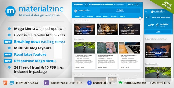 MaterialZine - Blog & Magazine Material Design HTML Template by orange-themes