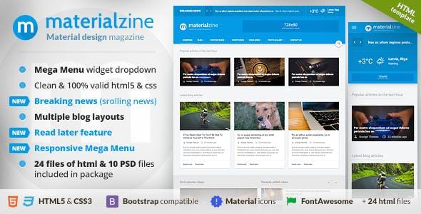 MaterialZine - Blog & Magazine Material Design HTML Template