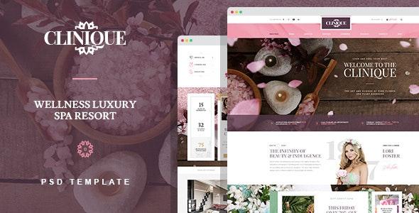 Clinique - Wellness Luxury Spa Resort PSD template - Health & Beauty Retail