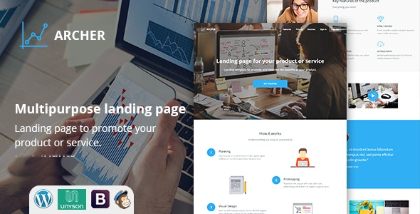 Archer Multi Variant Landing Page WordPress Theme - Marketing Corporate