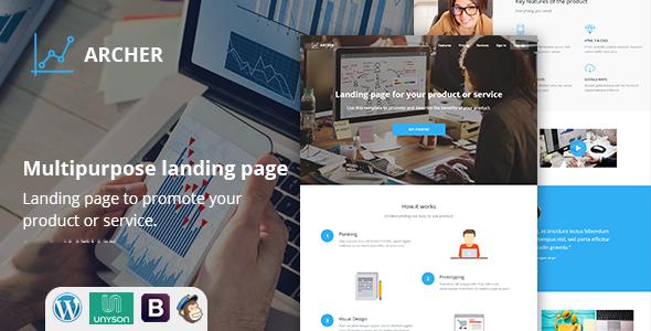 Archer Multi Variant Landing Page WordPress Theme - Marketing Corporate