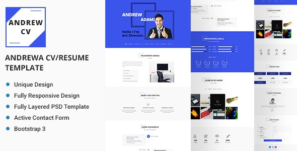 Andrew Personal CV/Resume Template - Resume / CV Specialty Pages