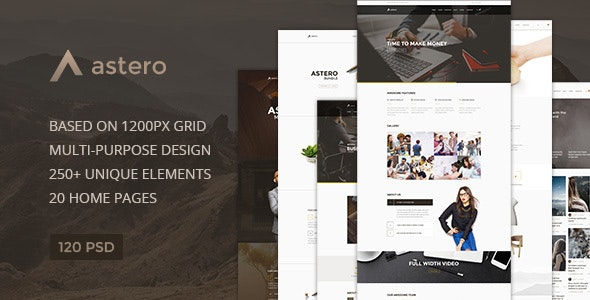 Astero — Multipurpose Portfolio | Blog | Store PSD Template - Photoshop UI Templates
