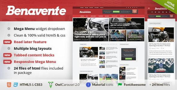 Benavente - News & Magazine HTML Template - Entertainment Site Templates