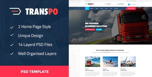 TRANSPO - Logistic & Transport PSD Template - Business Corporate