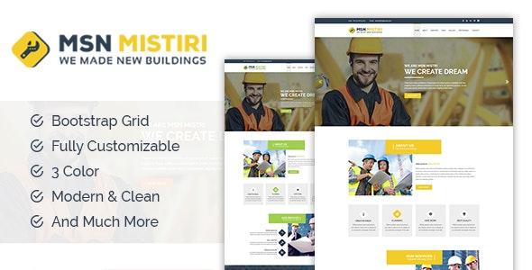 MSN Mistiri - Construction PSD Template - Business Corporate