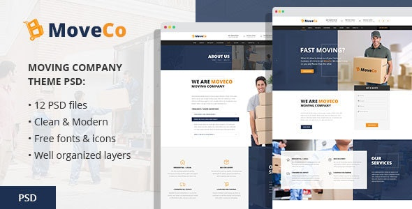 MoveCo - Moving Company PSD Template - Business Corporate