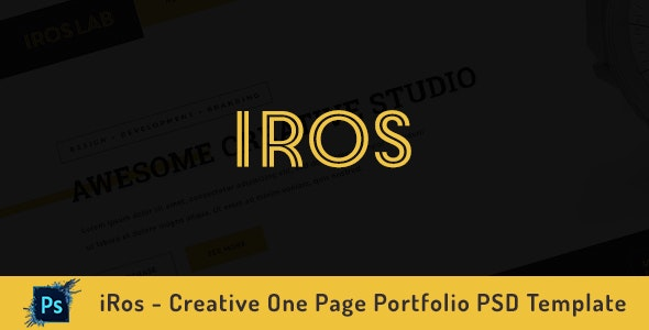 iRos - Creative One Page Portfolio PSD Template - Portfolio Creative