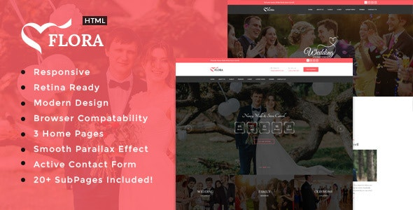 Flora - Responsive HTML Wedding Template - Wedding Site Templates