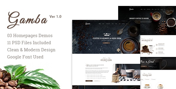 Gamba - Coffee & Drink PSD Template - Restaurants & Cafes Entertainment