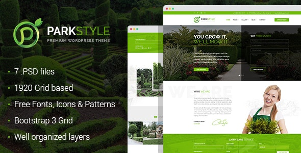 Parkstyle - lawn and landscape desig PSD template - Business Corporate