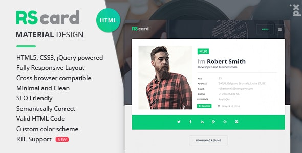 Material CV / Resume & vCard - Resume / CV Specialty Pages
