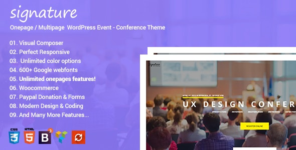 Signature - WordPress Multipurpose Events Theme - Events Entertainment