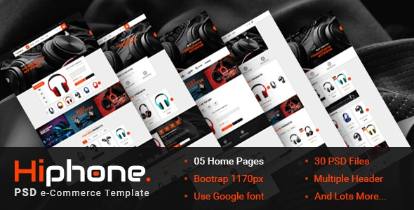 HiPhone - eCommerce PSD Template - Retail Photoshop