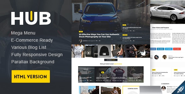 Hub Magazine HTML5 Template - Corporate Site Templates