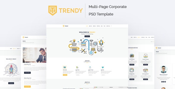 Trendy - MultiPage Corporate PSD Template - Corporate Photoshop