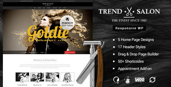 Trend Salon - Hairdresser WordPress by designthemes | ThemeForest