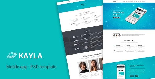 Kayla – One Page App PSD Template - Creative Photoshop