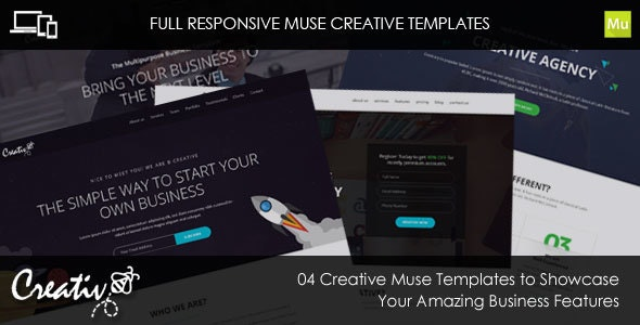 B-Creative Responsive Muse Templates + 2 Upcoming Pages - Creative Muse Templates