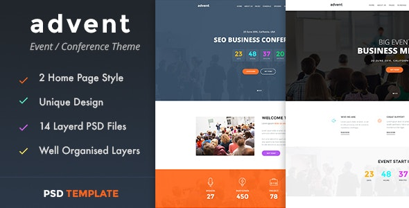 advent - Event & Conference PSD Template - Events Entertainment