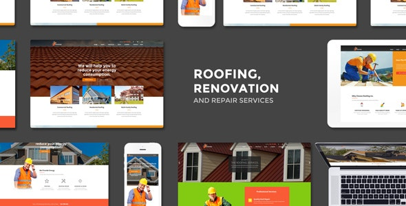 Roofing - Renovation & Repair Service WordPress Theme - Business Corporate