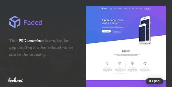 Faded - App Landing PSD Template