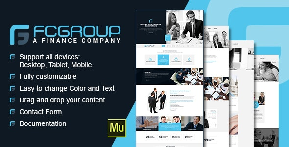 Finance Group - Multi Purpose Muse Theme - Corporate Muse Templates