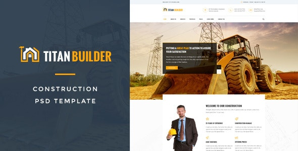 Titan Builders : Construction PSD Template - Business Corporate