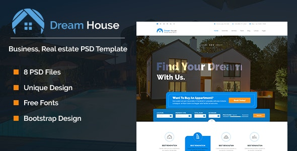 Dream House | Real estate PSD Theme - Business Corporate
